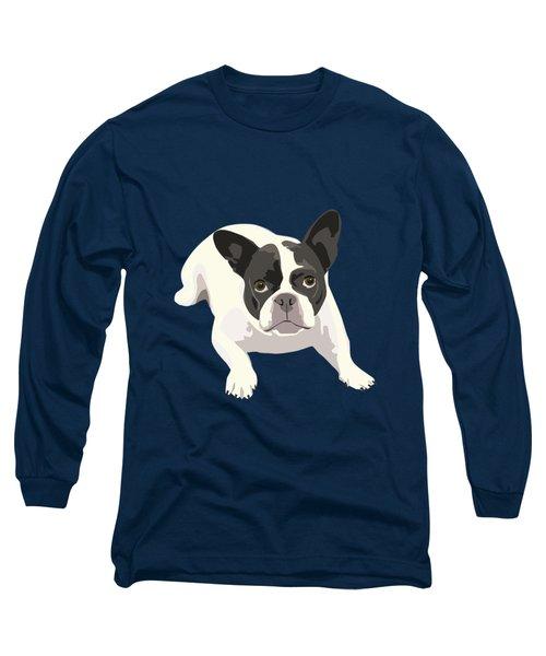 Black And White French Bulldog - Vector Art Portrait Long Sleeve T-Shirt