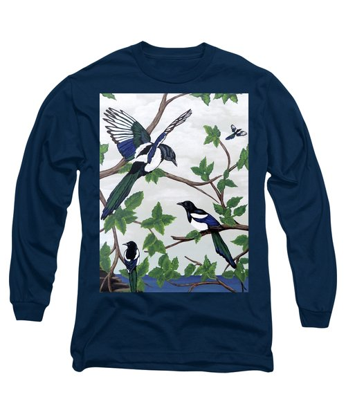 Long Sleeve T-Shirt featuring the painting Black Billed Magpies by Teresa Wing