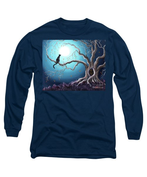 Black Cat In A Haunted Tree Long Sleeve T-Shirt