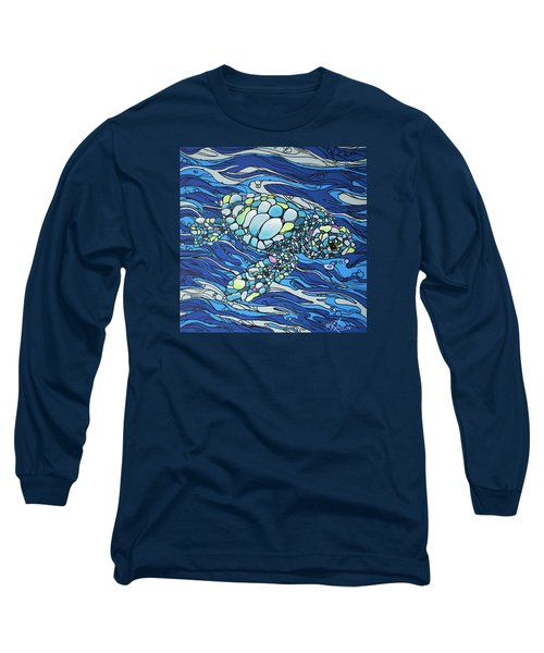Black Contour Turtle Long Sleeve T-Shirt by William Love