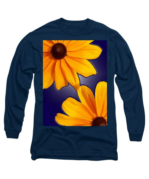 Black-eyed Susans On Blue Long Sleeve T-Shirt