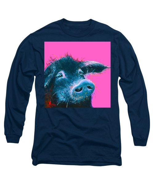 Black Pig Painting On Pink Background Long Sleeve T-Shirt