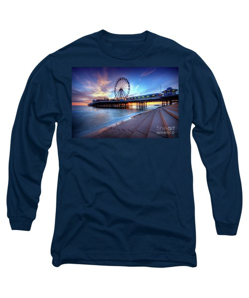 Long Sleeve T-Shirt featuring the photograph Blackpool Pier Sunset by Yhun Suarez