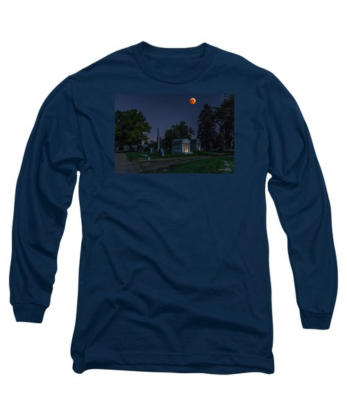 Blood Moon At Fairmount Cemetery Long Sleeve T-Shirt by Stephen  Johnson