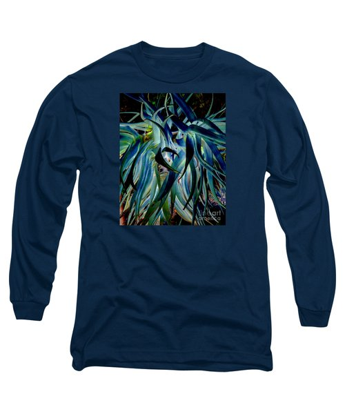 Blue Abstract Art Lorx Long Sleeve T-Shirt by Rebecca Margraf