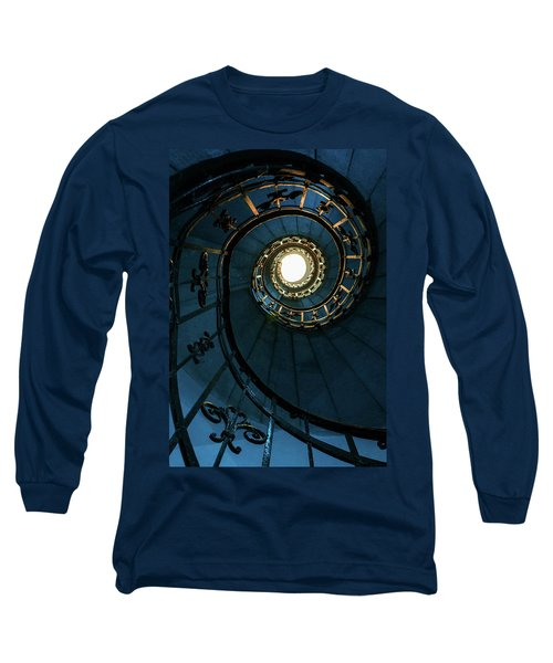 Long Sleeve T-Shirt featuring the photograph Blue And Golden Spiral Staircase by Jaroslaw Blaminsky