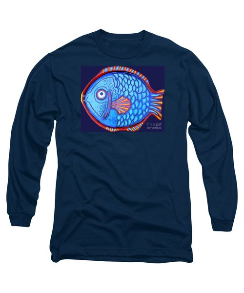 Blue And Red Fish Long Sleeve T-Shirt by Genevieve Esson