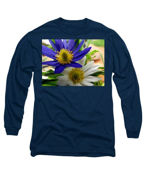 Blue And White Anemones Long Sleeve T-Shirt