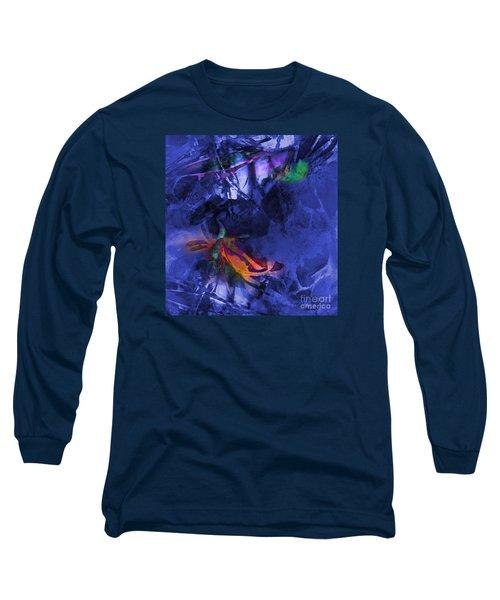 Blue Avatar Abstract Long Sleeve T-Shirt by Allison Ashton