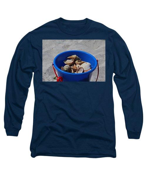 Long Sleeve T-Shirt featuring the photograph Blue Beach Bucket by Michiale Schneider