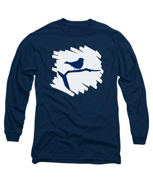 Blue Bird Silhouette Modern Bird Art Long Sleeve T-Shirt