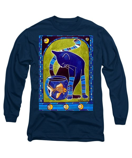 Long Sleeve T-Shirt featuring the painting Blue Cat With Goldfish by Dora Hathazi Mendes