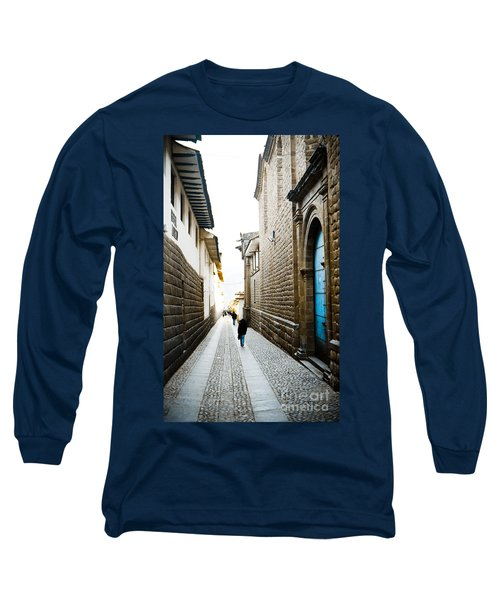 Blue Door In Cusco Long Sleeve T-Shirt by Darcy Michaelchuk