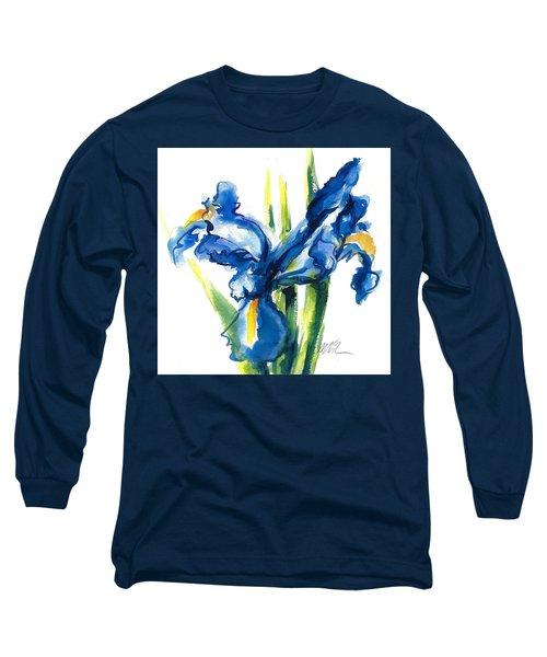Blue Dutch Iris Flower Painting Long Sleeve T-Shirt