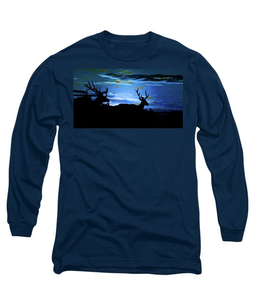 Long Sleeve T-Shirt featuring the mixed media Blue Elk Dreamscape by Mike Breau