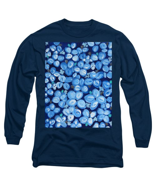 Blue Floral Frenzy Long Sleeve T-Shirt