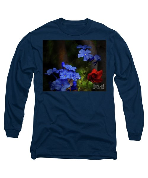 Blue Flowers Growing Up The Apple Tree Long Sleeve T-Shirt