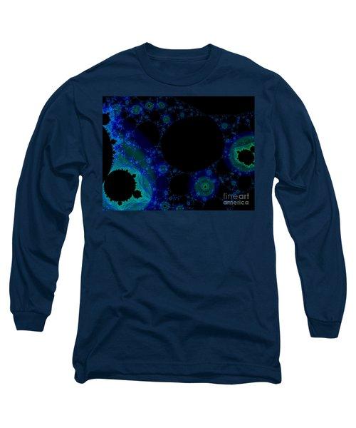 Blue Green Galaxy Fractal Long Sleeve T-Shirt
