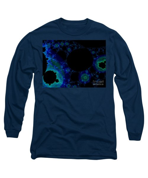 Blue Green Galaxy Fractal Long Sleeve T-Shirt
