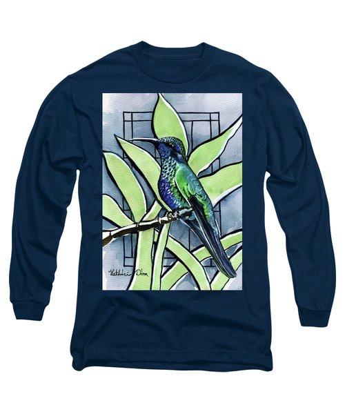 Blue Green Hummingbird Long Sleeve T-Shirt