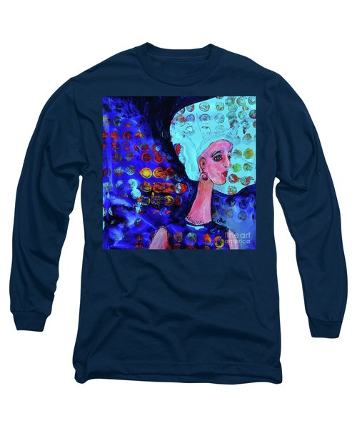 Blue Haired Girl On Windy Day Long Sleeve T-Shirt