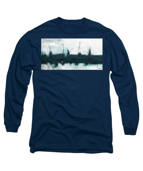 Long Sleeve T-Shirt featuring the painting Blue Harbour by Carmen Guedez