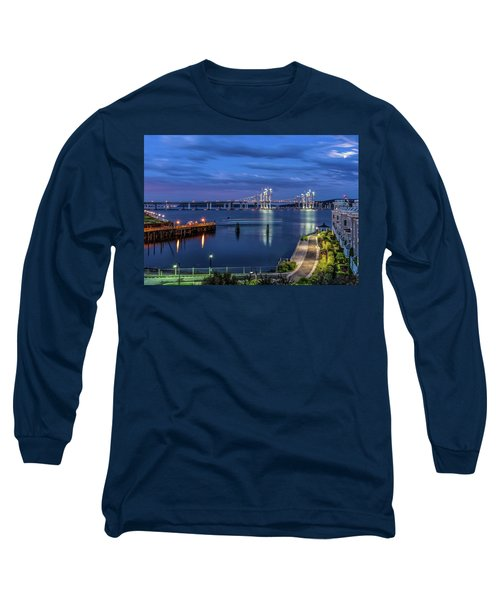 Blue Hour Over The Hudson Long Sleeve T-Shirt by Jeffrey Friedkin