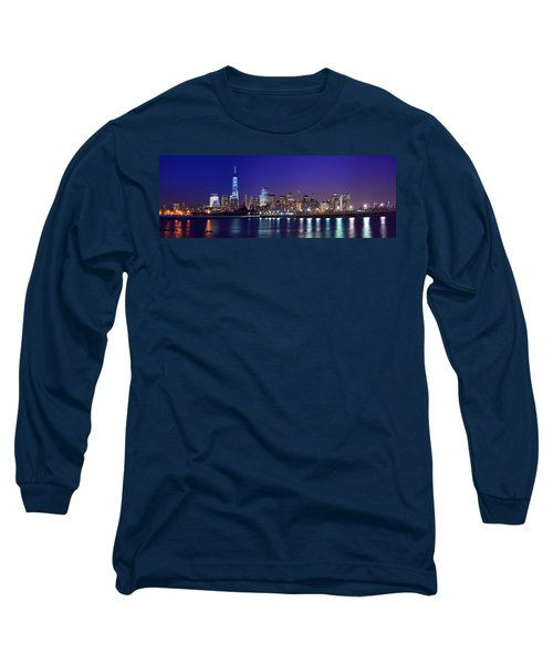 Blue Hour Panorama New York World Trade Center With Freedom Tower From Liberty State Park Long Sleeve T-Shirt