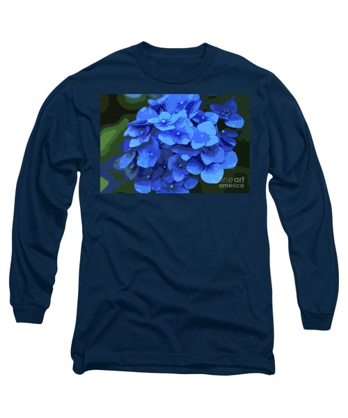 Blue Hydrangea Stylized Long Sleeve T-Shirt