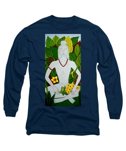 Long Sleeve T-Shirt featuring the painting Blue Idol by Stephanie Moore