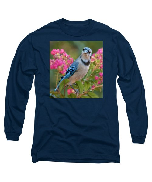 Long Sleeve T-Shirt featuring the photograph Blue Jay In Crepe Myrtle by Jim Moore