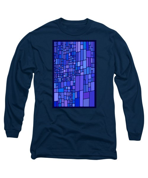 Blue Mondrian Long Sleeve T-Shirt