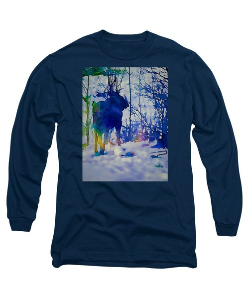 Blue Moose Long Sleeve T-Shirt by Jan Amiss Photography