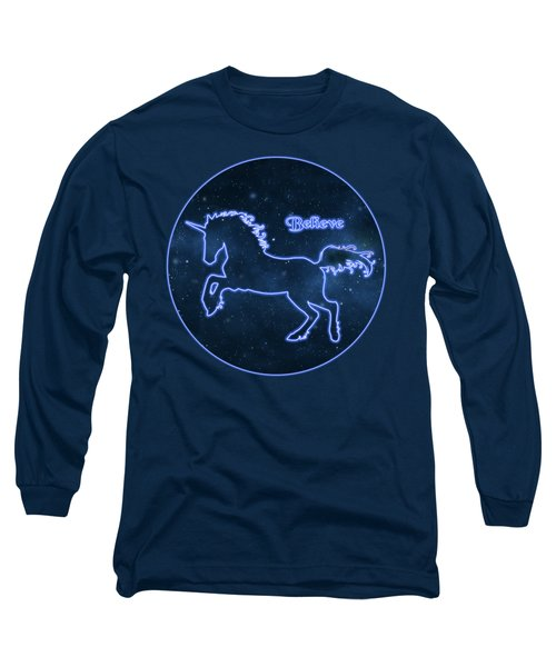 Blue Neon Light Unicorn Text Believe Long Sleeve T-Shirt by Elaine Plesser