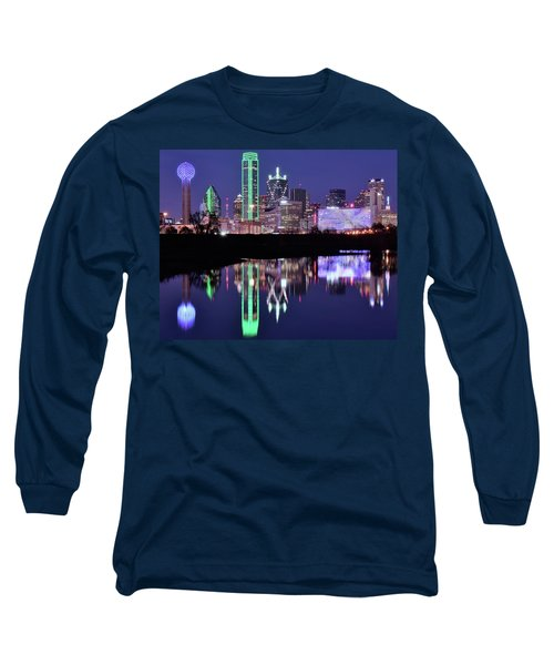 Long Sleeve T-Shirt featuring the photograph Blue Night And Reflections In Dallas by Frozen in Time Fine Art Photography