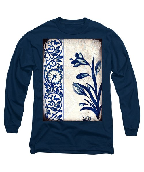 Blue Oriental Vintage Tile 03 Long Sleeve T-Shirt