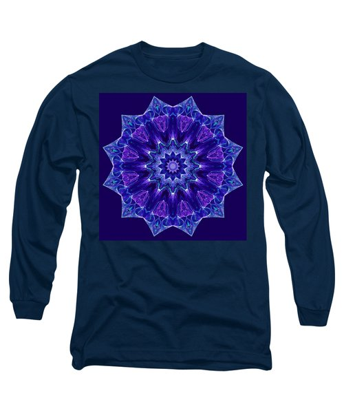 Blue And Purple Mandala Fractal Long Sleeve T-Shirt