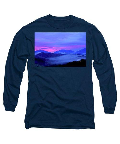 Blue Ridge Mountains Sunset Long Sleeve T-Shirt