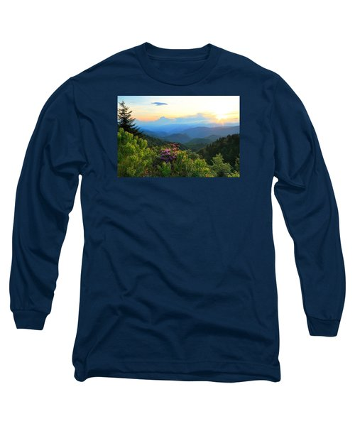 Blue Ridge Parkway And Rhododendron  Long Sleeve T-Shirt