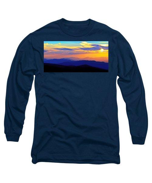 Blue Ridge Sunset, Virginia Long Sleeve T-Shirt by The American Shutterbug Society