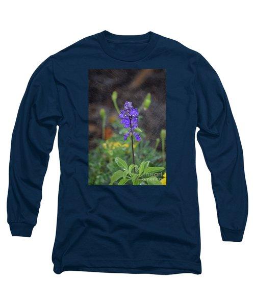 Blue Standing Long Sleeve T-Shirt
