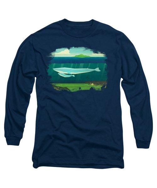 Blue Whale Long Sleeve T-Shirt by David Ardil