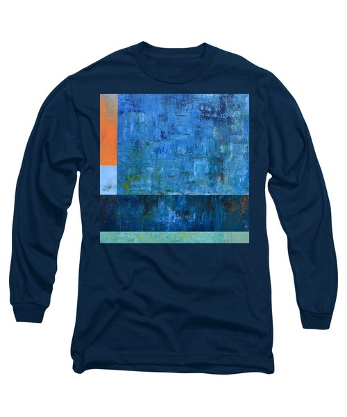 Blue With Orange Long Sleeve T-Shirt