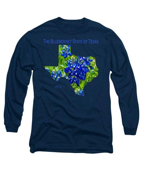 Bluebonnet State Of Texas - T-shirt Long Sleeve T-Shirt by Robert J Sadler