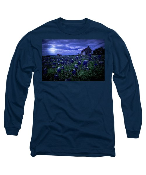 Long Sleeve T-Shirt featuring the photograph Bluebonnets In The Blue Hour by Linda Unger