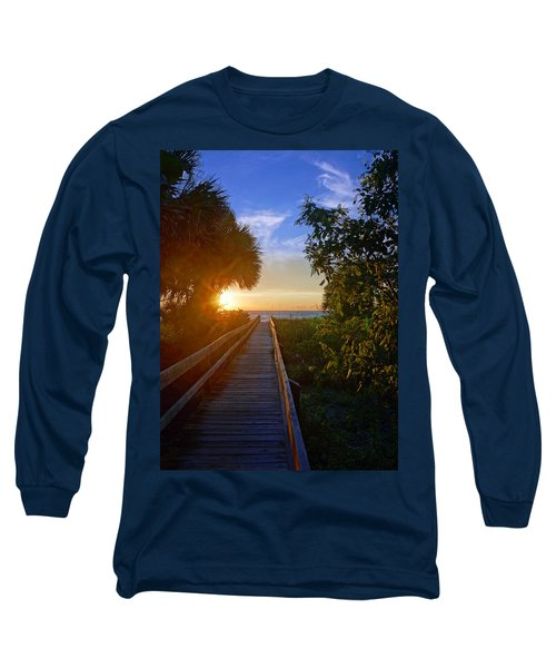 Sunset At The End Of The Boardwalk Long Sleeve T-Shirt by Robb Stan