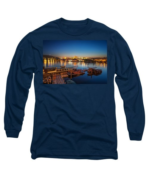 Boat Dock Near St. Vitus Cathedral, Prague, Czech Republic. Long Sleeve T-Shirt