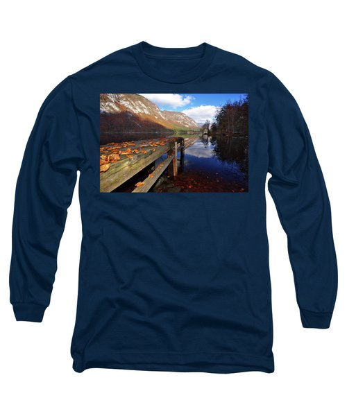 Boat Mooring At Lake Bohijn Long Sleeve T-Shirt by Graham Hawcroft pixsellpix