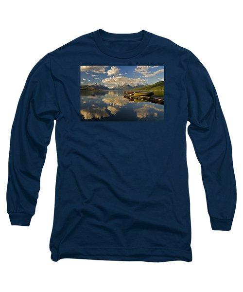 Boats At Lake Mcdonald Long Sleeve T-Shirt by Gary Lengyel