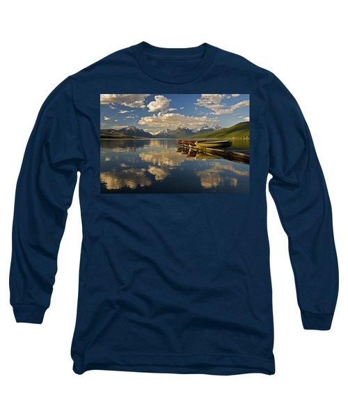 Boats At Lake Mcdonald Long Sleeve T-Shirt